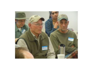 L to R. Michael Whiteside, Mike Decker, Bob Todd-life time Boulder County beekeepers (Dr. Arathi Seshadri in background)